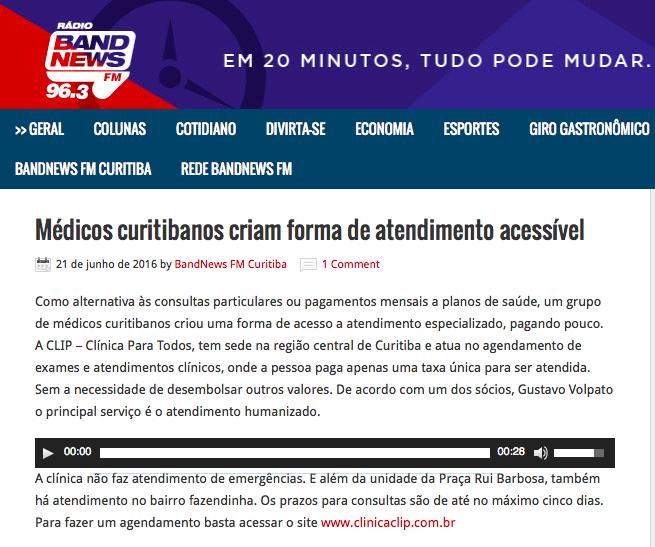 Rádio Band News - Médicos curitibanos criam forma de atendimento acessível